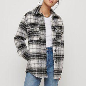 Like New Dynamite Plaid Shacket Black & White Brushed Shirt Jacket Size Small